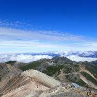 Climbing people on Mt. Norikura